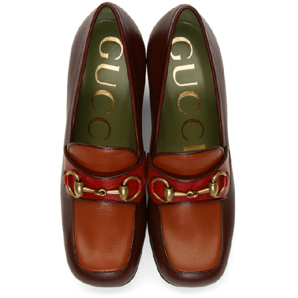 GUCCI GUCCI BURGUNDY AND RED HOUDAN HORSEBIT 85 HEELS