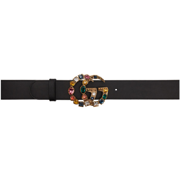 bcb6301ee Gucci Leather Belt With Crystal Double G Buckle In 1093 Black | ModeSens