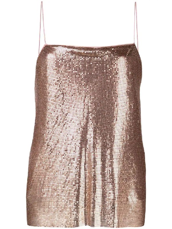 77baf612924e Alice And Olivia Harmon Drapey Chainmail Slip Tank Top, Rose Gold In Pink