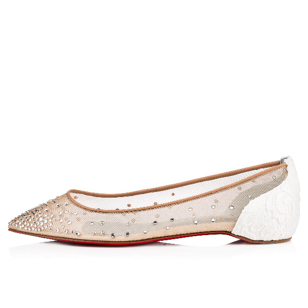 Follies Strass Pointy Toe Flat In Off White
