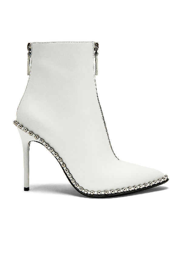 27e8d403672bf Alexander Wang Eri Leather Dual-Zip Booties With Studs In White Leather