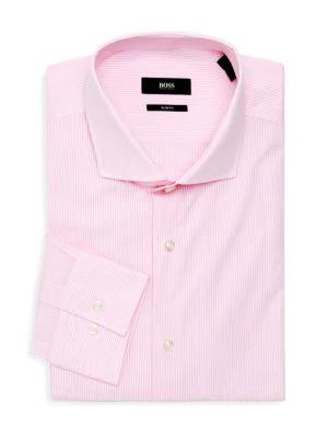 cee2b5e7 Hugo Boss Stripe Cotton Dress Shirt In Light Pink | ModeSens