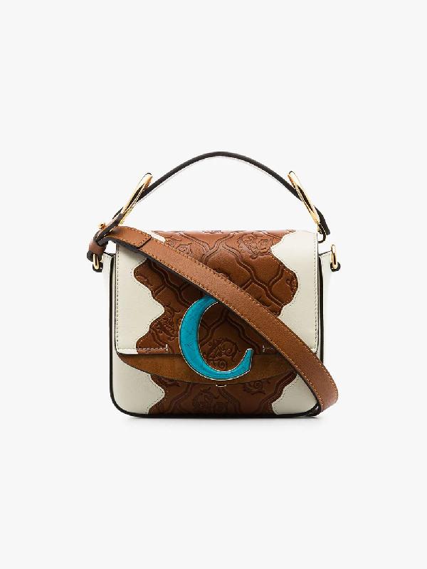 275c041f36 Chloé Brown C Logo-Embossed Patchwork Leather Shoulder Bag in 119 Natural  White