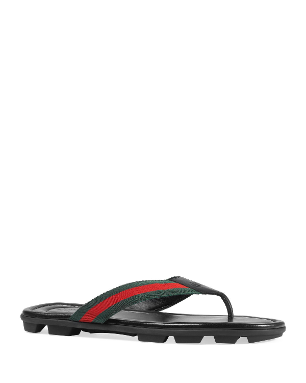 5e336b2d6da9 Gucci Web   Leather Thong Sandals