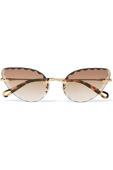 417814d19e ChloÉ Rosie Cat-Eye Gold-Tone And Tortoiseshell Acetate Sunglasses In Brown
