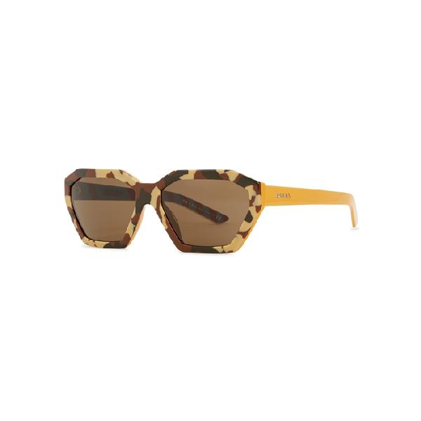 488a7cb392 Prada Camouflage Heptagon-Frame Sunglasses In Brown. Harvey Nichols