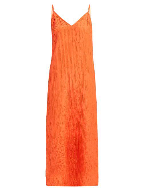 300f8aeeebda4 Raey - V Neck Crinkled Silk Midi Slip Dress - Womens - Orange | ModeSens