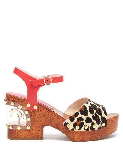 bd45b8ef2503 Sophia Webster - Paradise Leopard Print Wood   Pvc Clogs - Womens - Leopard  In Animal