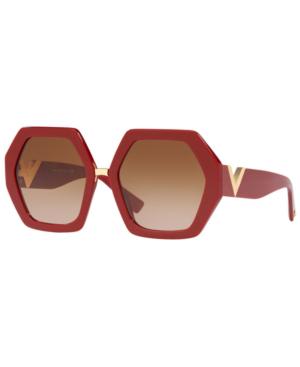 3410e9e3c099a Valentino Oversized Hexagonal Acetate Sunglasses In Red. macy s