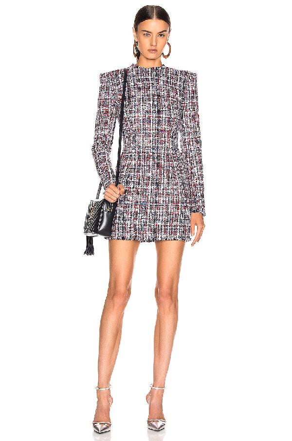 order online best deals on catch Balmain Tweed Button Dress In Red & White & Blue
