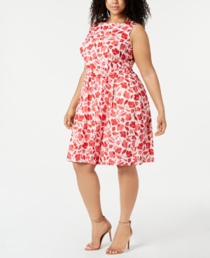 Anne Klein Plus Size Cotton Printed Jacquard Fit & Flare Dress In ...