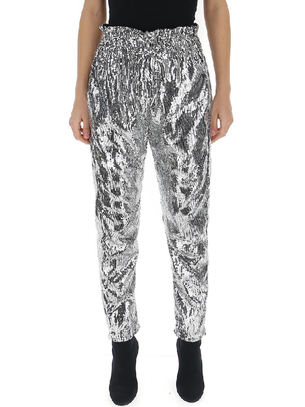 f720af8705a2 Amen High Waisted Sequin Trousers In Silver | ModeSens