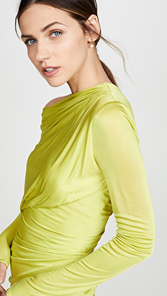 b262b01a4e Draped Fluo Midi Dress in Green