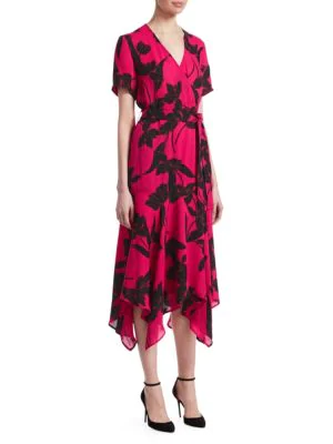 31fd1fc563 A.L.C Cora Floral-Print Silk Midi Wrap Dress In Pink | ModeSens