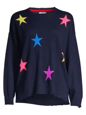 89e25e7e89d7 Sundry Hearts & Stars Wool & Cashmere Crewneck Sweater In Navy ...