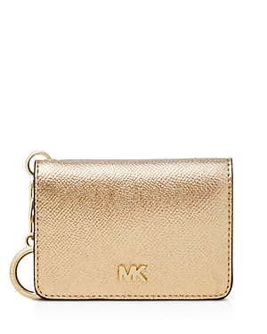 31935cc8f3d50f Michael Michael Kors Money Pieces Card Case With Key Ring In Pale Gold/Gold