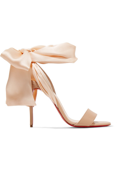 6c3d285b1a16 Christian Louboutin Sandale Du Desert 100 Leather And Satin Sandals In Nude