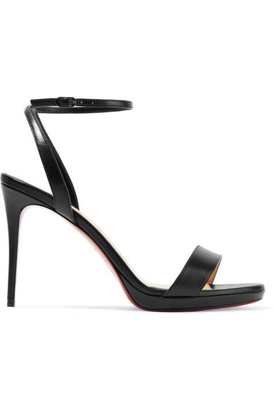 994bd4ba0f93 Christian Louboutin Loubi Queen 100 Leather Slingback Sandals In Black