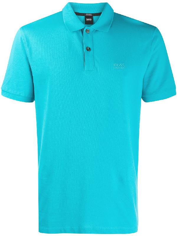 de1d557bd Boss Hugo Boss Logo Embroidered Polo Shirt - Blue