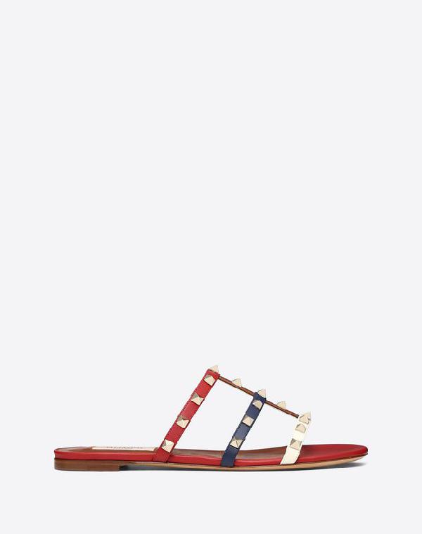 8692b201a269 Valentino Multicolor Rockstud Caged Flat Slide Sandal In White ...