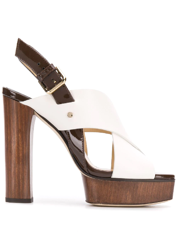 5bd9fe20c Jimmy Choo Aix/Pf 125 Latte Mix Vachetta Leather And Patent Strap Sandal In  White