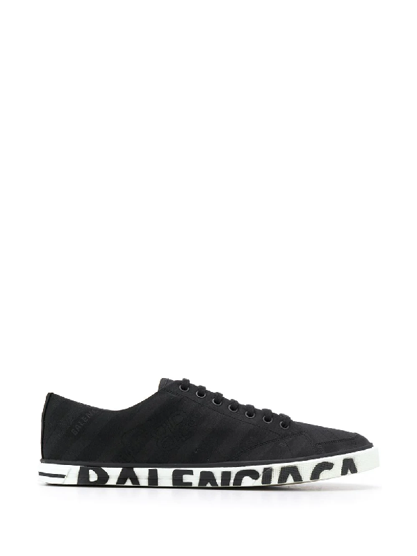 c13f6de835 Balenciaga Match Logo Low-Top Canvas Trainers In 1000 - Black | ModeSens