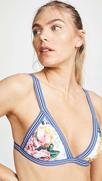 Zimmermann Allia Bikini Top In White Floral