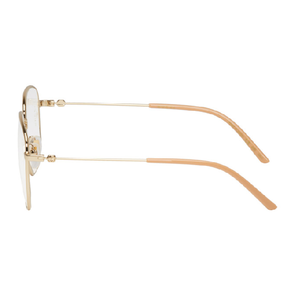 Gucci Gold And Pink Square Glasses In 001 Goldnud