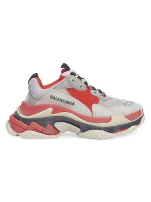 Balenciaga Triple S Sneakers In Red Grey White