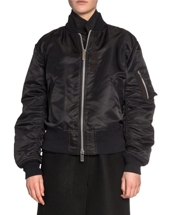 eb6d0e2d4 Wool Coat Layered Bomber Jacket in Black