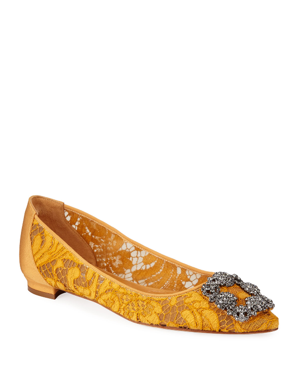 Manolo Blahnik Hangisi Crystal-Buckle Lace Flats In Mustard