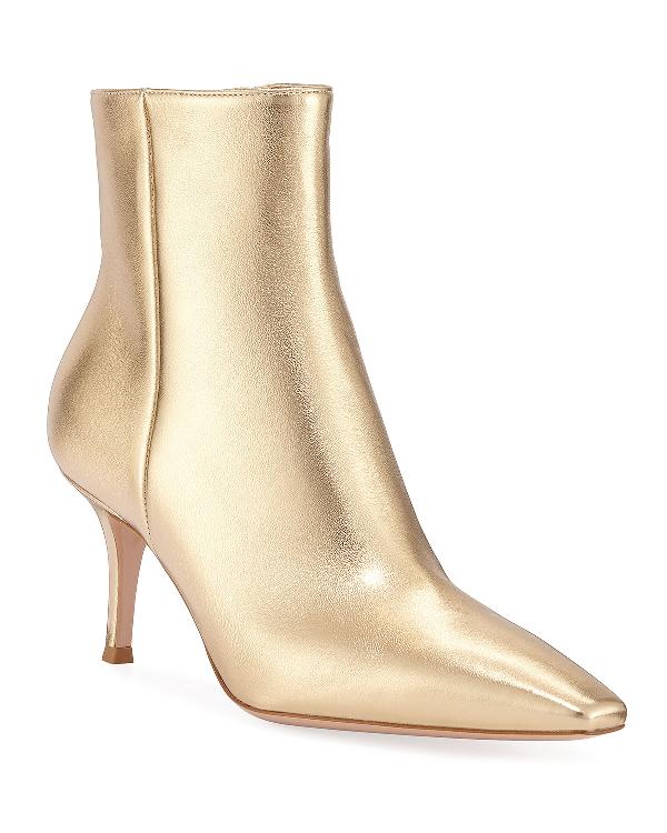 eafa2efa7ad Metallic Leather Mid-Heel Booties in Gold