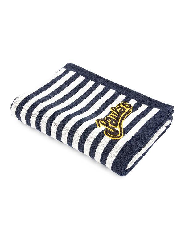 Loewe X Paula's Ibiza Striped Cotton-Terry Beach Towel In White/Navy Blue