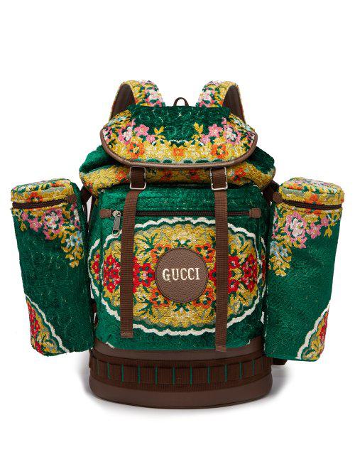 Gucci Alpina Floral-Velvet Backpack In Green Multi