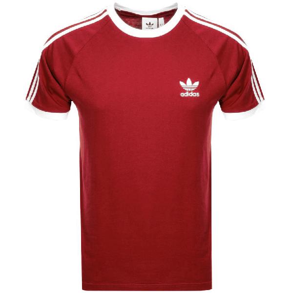 7012c642 Adidas Originals California 3 Stripe T Shirt Red | ModeSens