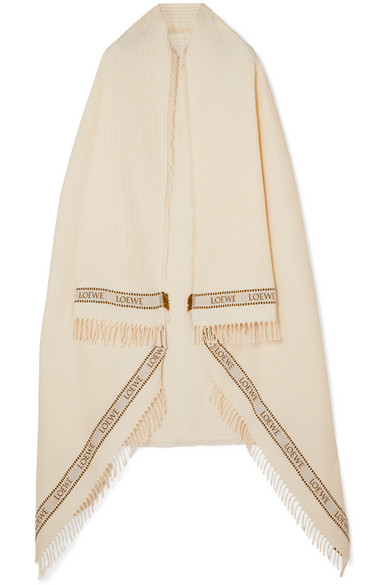 Loewe Paula's Ibiza Intarsia Waffle-Knit Cotton Towel In Ecru