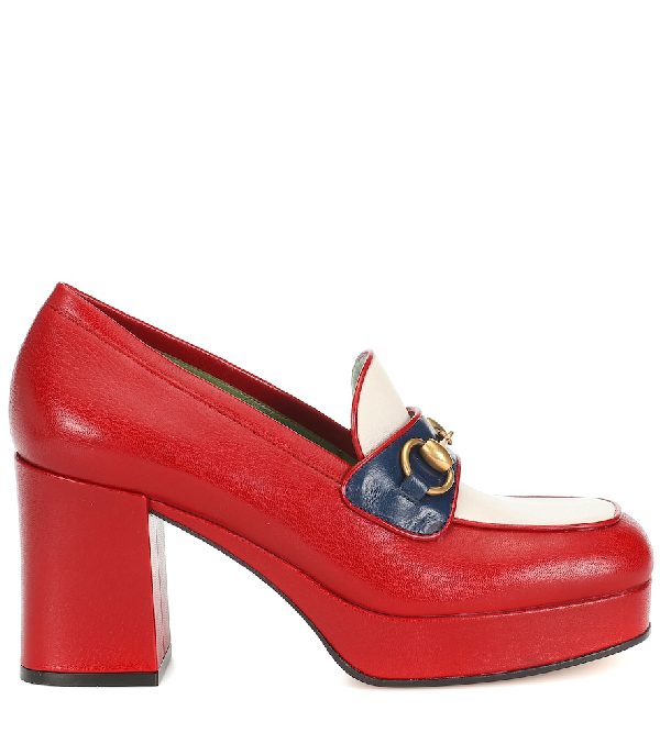 Gucci Horsebit Leather Loafer Pumps In Red