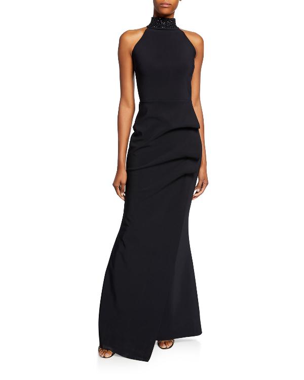f764bb0d Chiara Boni La Petite Robe Slavinka Beaded-Neck Halter Gown In Black ...