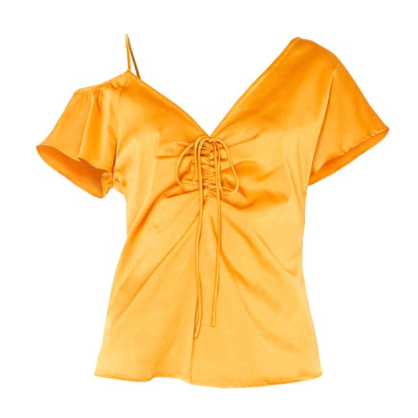 Paisie V-Neck Asymmetric Shoulder Top With Gathered Details In Rustic Orange In Pink