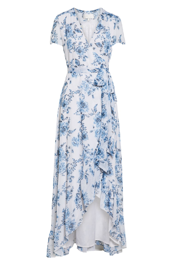 Wayf The Natasha Floral Wrap Maxi Dress In Blue Toile Floral ...