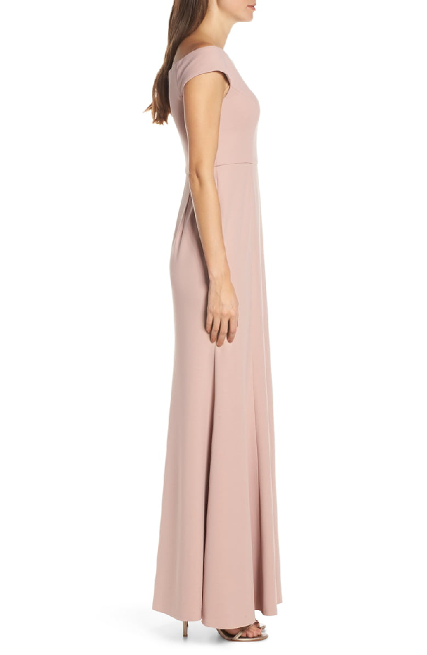 058efa756e Jenny Yoo Larson Off The Shoulder Crepe Evening Dress In Whipped Apricot