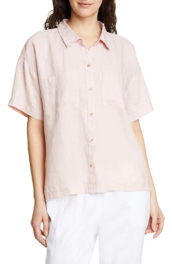 2f7167ce Eileen Fisher Button-Down Short-Sleeve Organic Linen Shirt In Powder ...