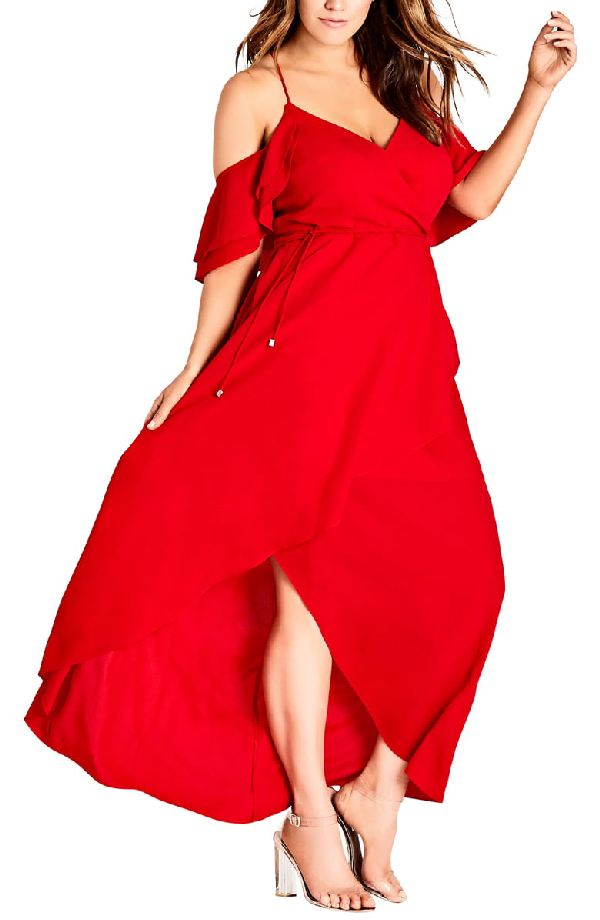 Trendy Plus Size Cold-Shoulder Maxi Dress in Scarlet