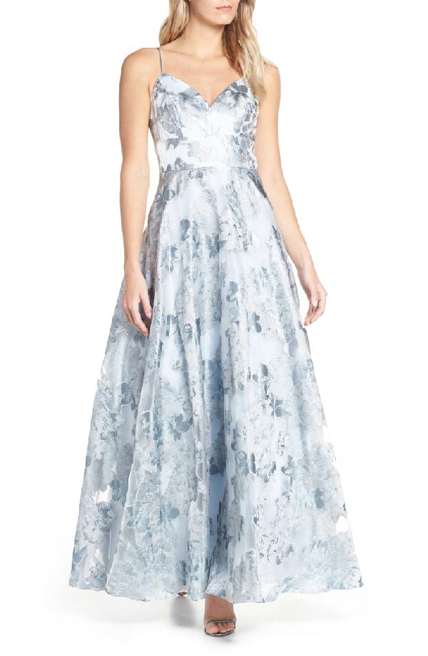 901c3ee292 Eliza J Floral Jacquard Evening Dress In Sky Blue