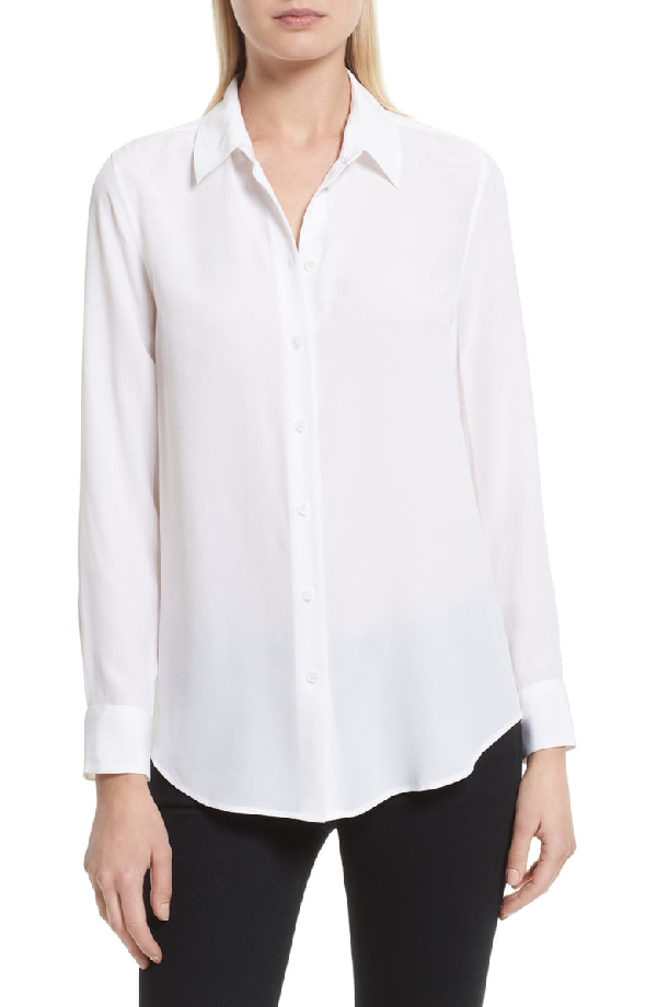 1c34cc533656f0 Equipment Essential Long-Sleeve Silk Shirt In Bright White | ModeSens