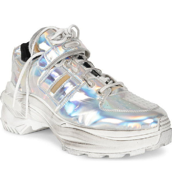 quality design 3be0f f61bc Maison Margiela Retrofit American Silver Laminated Leather Sneakers In  America Silver