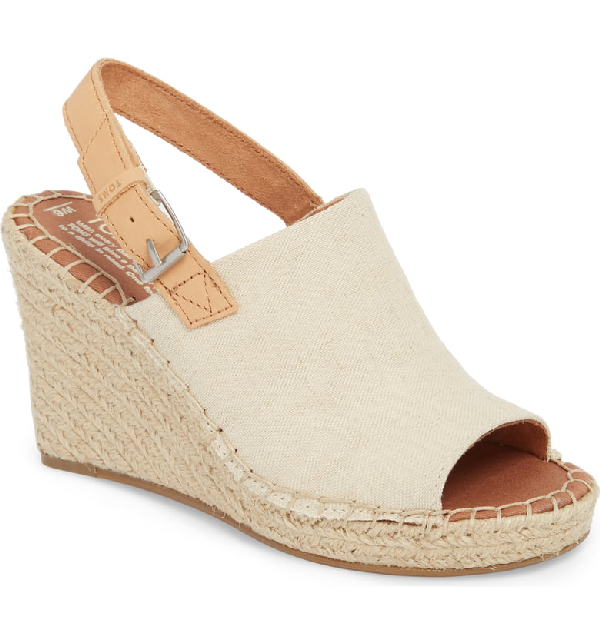 4e54bfbfd7022 Toms Women's Monica Slingback Espadrille Wedge Sandals In Natural Hemp/  Leather