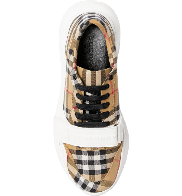 Burberry Men's Chunky Signature Check Trainer Sneakers With Grip Strap In Nude & Neutrals