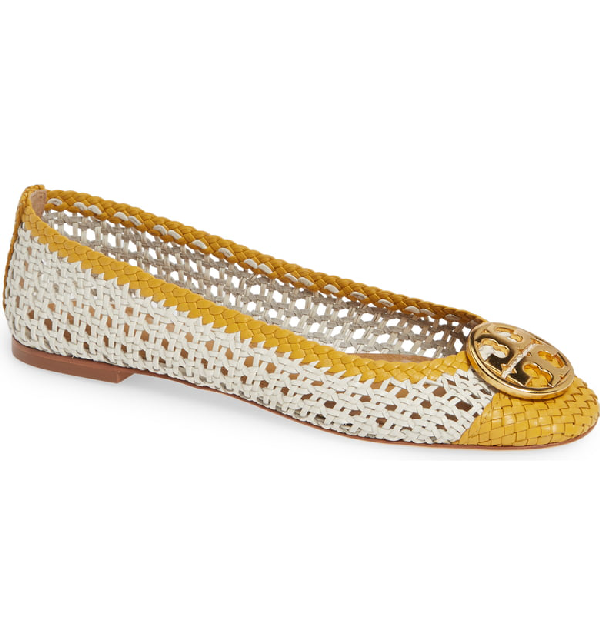 9415a9da0b5d Tory Burch Women's Chelsea Woven Leather Cap-Toe Flats In Perfect Ivory/  Daylily