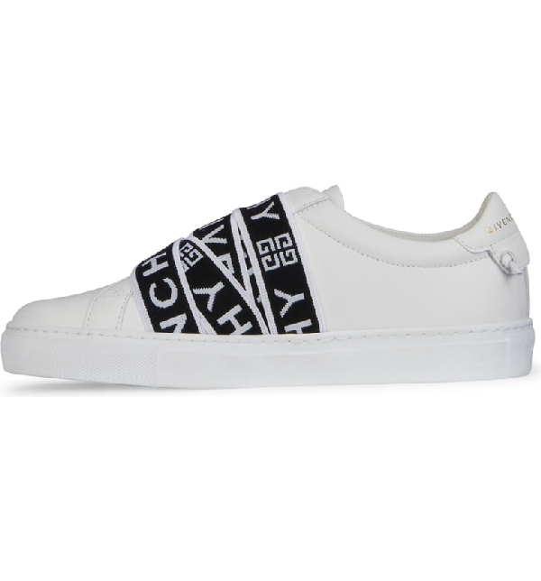 Givenchy Urban Street Logo-Jacquard Leather Slip-On Sneakers In White